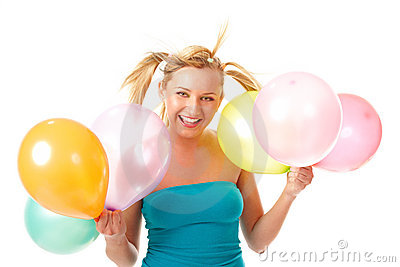 Laughing Girl with balloons