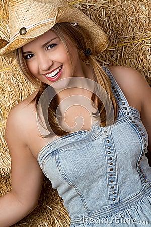 Laughing Girl in Barn