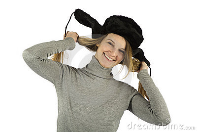 Laughing Girl in earflapped hat