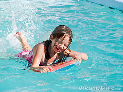 Laughing Girl in Pool