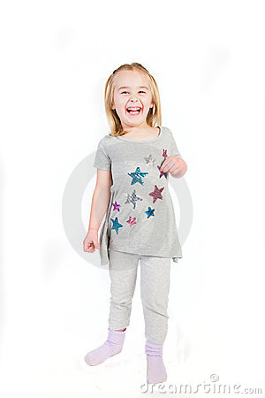 Laughing girl on a white background