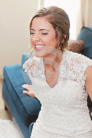 Laughing happy bride