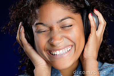 Laughing Headphones Girl