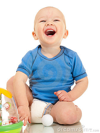 Laughing little boy in diaper