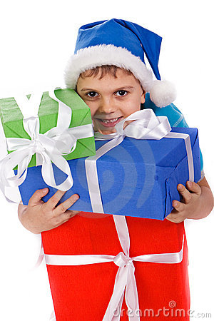 Laughing little boy in Santa s hat