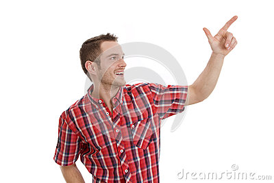 Laughing man pointing at something