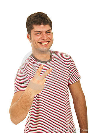 Laughing man showing victory