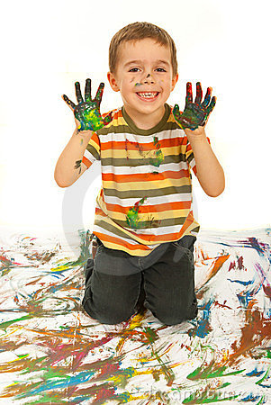 Free Laughing Messy Kid Boy Stock Images - 23522804