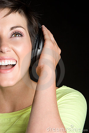Free Laughing Music Girl Stock Photography - 10476612