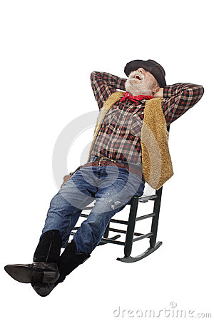 Laughing Old Cowboy Leans Back In Rocking Chair Royalty Free Stock ...