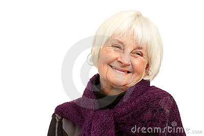 Laughing older woman on white background