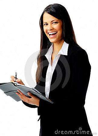 Laughing organized woman
