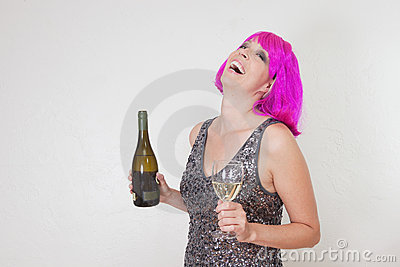 Laughing party woman