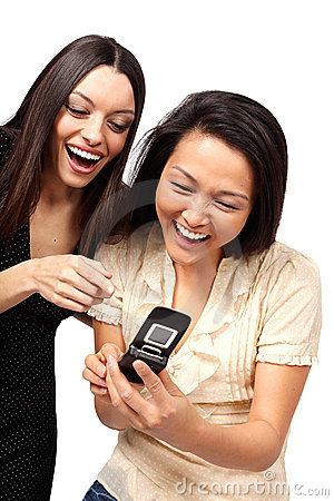 Laughing at the phone