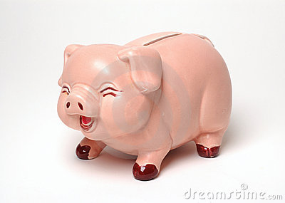 Laughing Piggy Bank on White