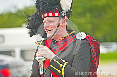 Laughing Pipe Major at Tain Gala Editorial Stock Photo
