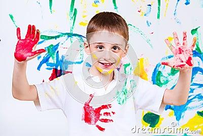 Laughing preschool boy