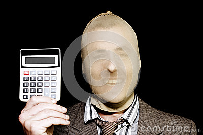 Laughing Robber Holding Calculator On Black