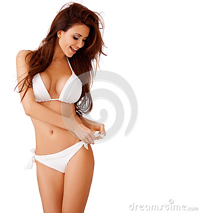 Free Laughing Sexy Young Woman In A White Bikini Stock Photography - 32548952