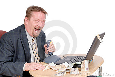 Laughing stock exchange trader Stock Photo