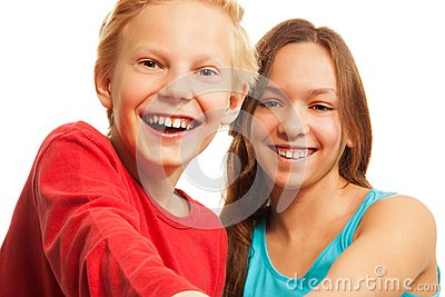 Laughing teen boy and girl
