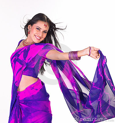 Laughing teenage girl with blue sari