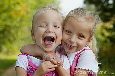 Laughing twins