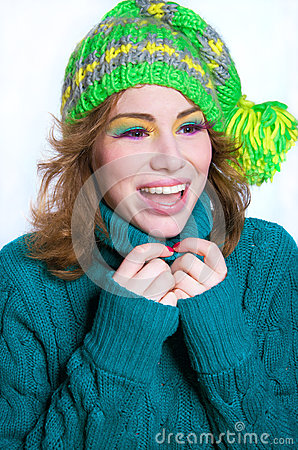 Laughing winter girl portrait