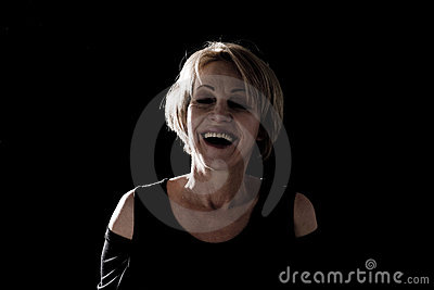Laughing Woman Against Black