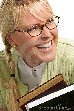 Free Laughing Woman Carries Stack Of Books Royalty Free Stock Image - 5767736