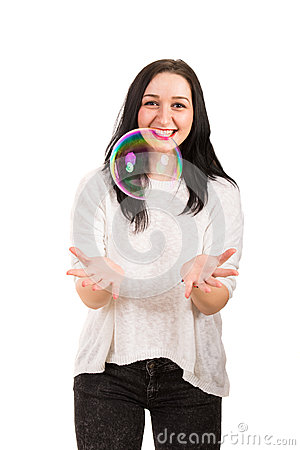 Free Laughing Woman Catch Big Soap Bubble Royalty Free Stock Images - 39117619