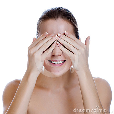 Laughing Woman Covering Her Eyes