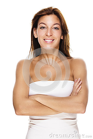 Laughing woman with crossed arms