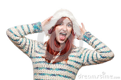 Laughing woman in furry winter hat