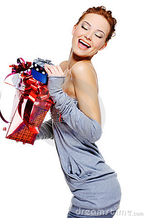 Free Laughing Woman Holding The Christmas Boxes Royalty Free Stock Photo - 11341515