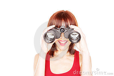 Laughing Woman Looking Through Binoculars