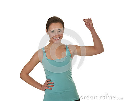 Laughing woman showing her muscles