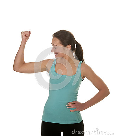 Laughing woman shows muscles