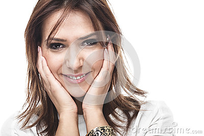 Laughing woman with a sympathetic smile