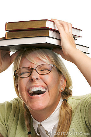Free Laughing Woman Under Stack Of Books On Head Royalty Free Stock Image - 5767766