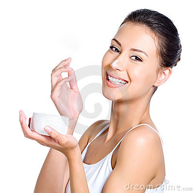 Free Laughing Woman With Cream On Her Nose Stock Photos - 15239293