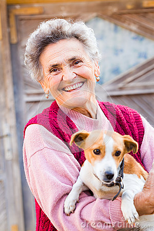 Free Laughing Woman With Puppy Stock Photography - 35025992