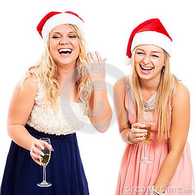 Laughing women celebrating Christmas