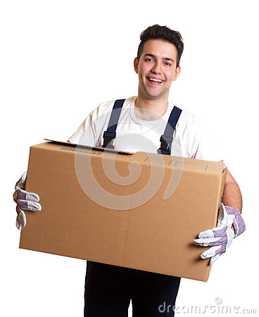 Laughing worker with a box in his hands