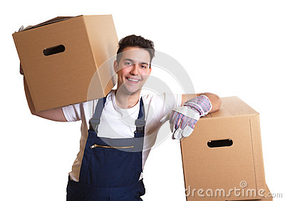 Laughing worker with a box on his shoulder