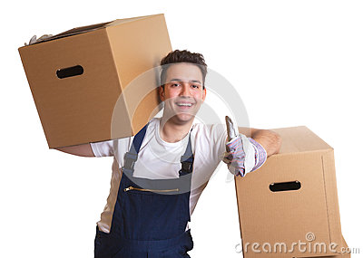Laughing worker with a box on his shoulder showing thumb up