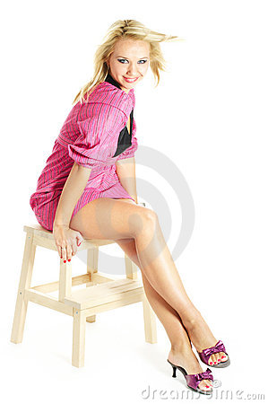 Laughing young blonde woman