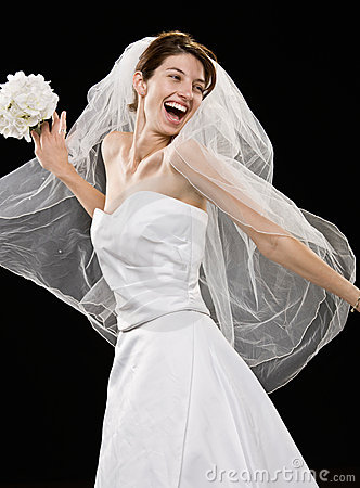 Free Laughing Young Bride In Wedding Dress And Veil Royalty Free Stock Photos - 6568828