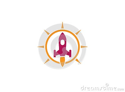 The launch of a rocket with a flame inside bright sun circle for logo design illustration Cartoon Illustration