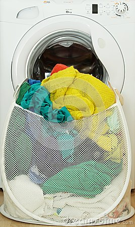 Laundry basket full of dirty clothes